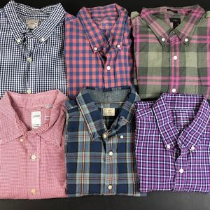 Lot of 6 Mens J. Crew Button Front Shirts XL